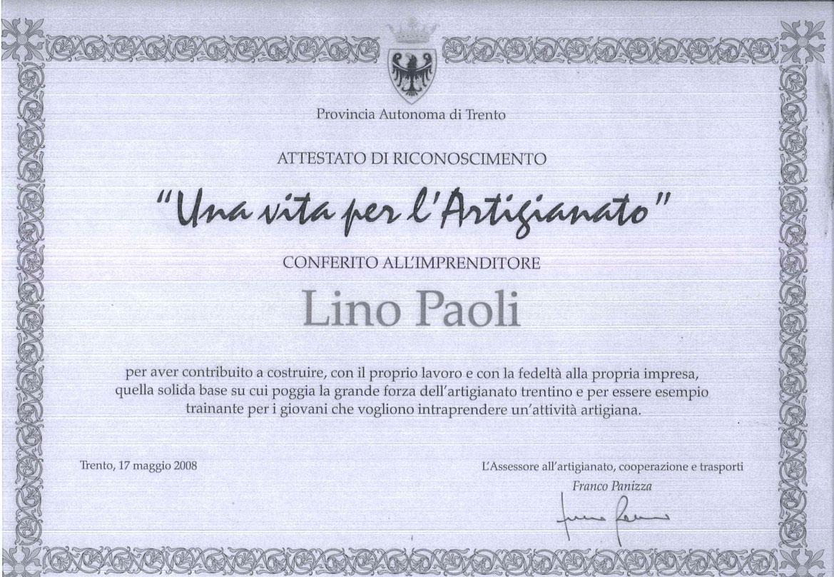 ATTESTATO LINO PAOLI